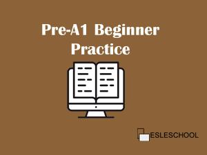 Beginner level | English Pre-A1 Practice | ESLeschool com